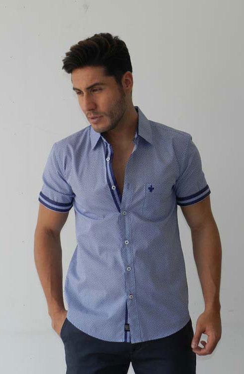 Camisa caballero manga corta 16-5374 | azul