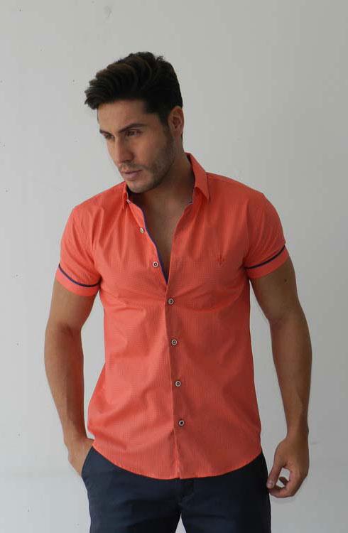 Camisa caballero manga corta 16-5375 | coral