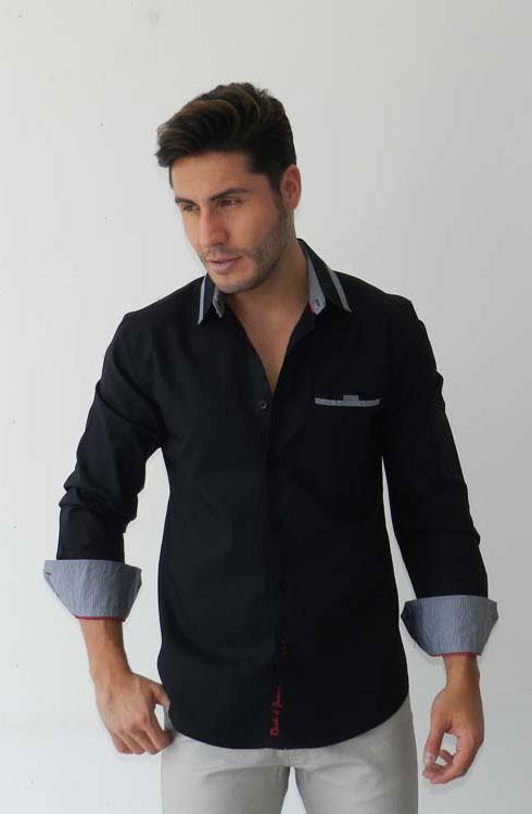 Camisa caballero manga larga 16-5385 | negro